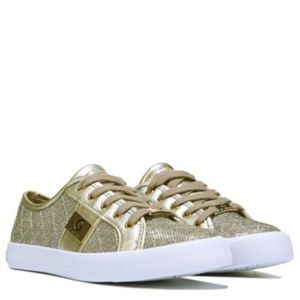 Guess Gold Quilted Lace Up Backer Sneakers Sz 8.5